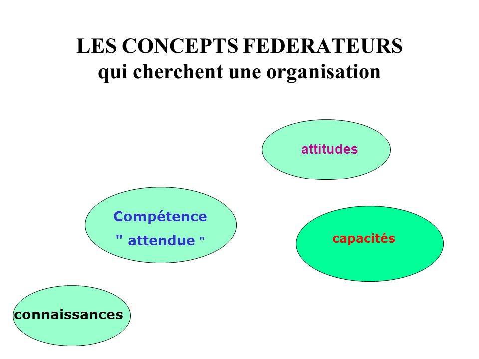 LES CONCEPTS FEDERATEURS qui cherchent une organisation Compétence