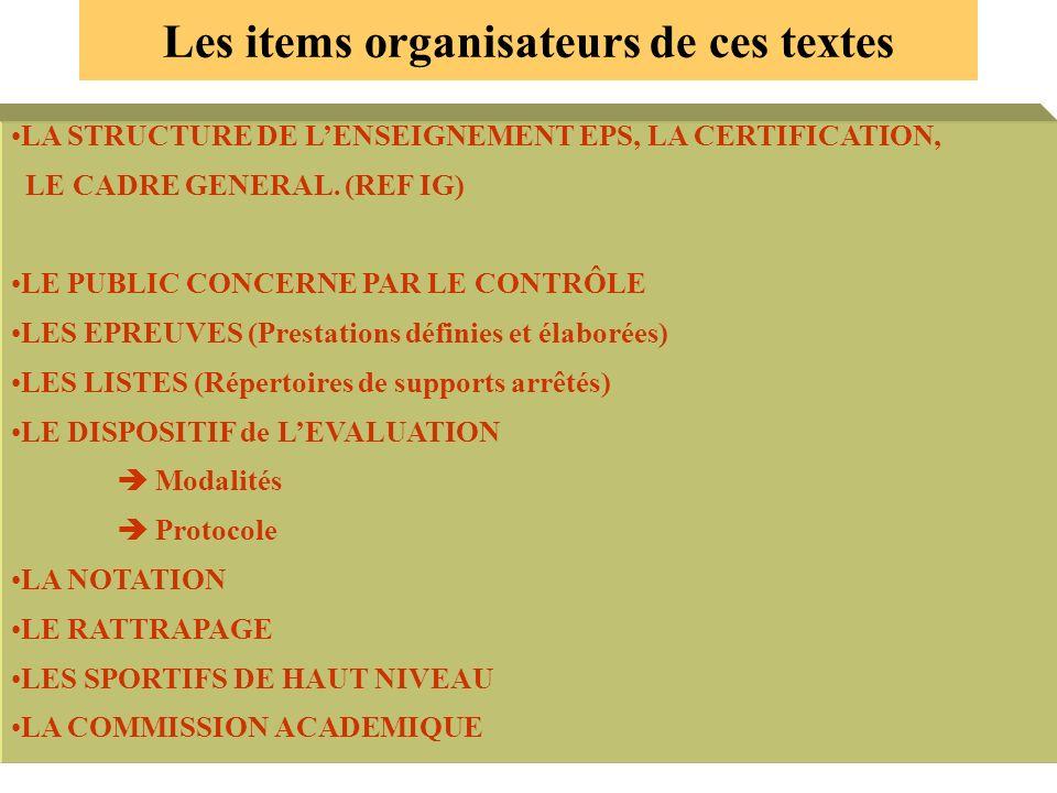 Les items organisateurs de ces textes LA STRUCTURE DE LENSEIGNEMENT EPS, LA CERTIFICATION, LE CADRE GENERAL. (REF IG) LE PUBLIC CONCERNE PAR LE CONTRÔ