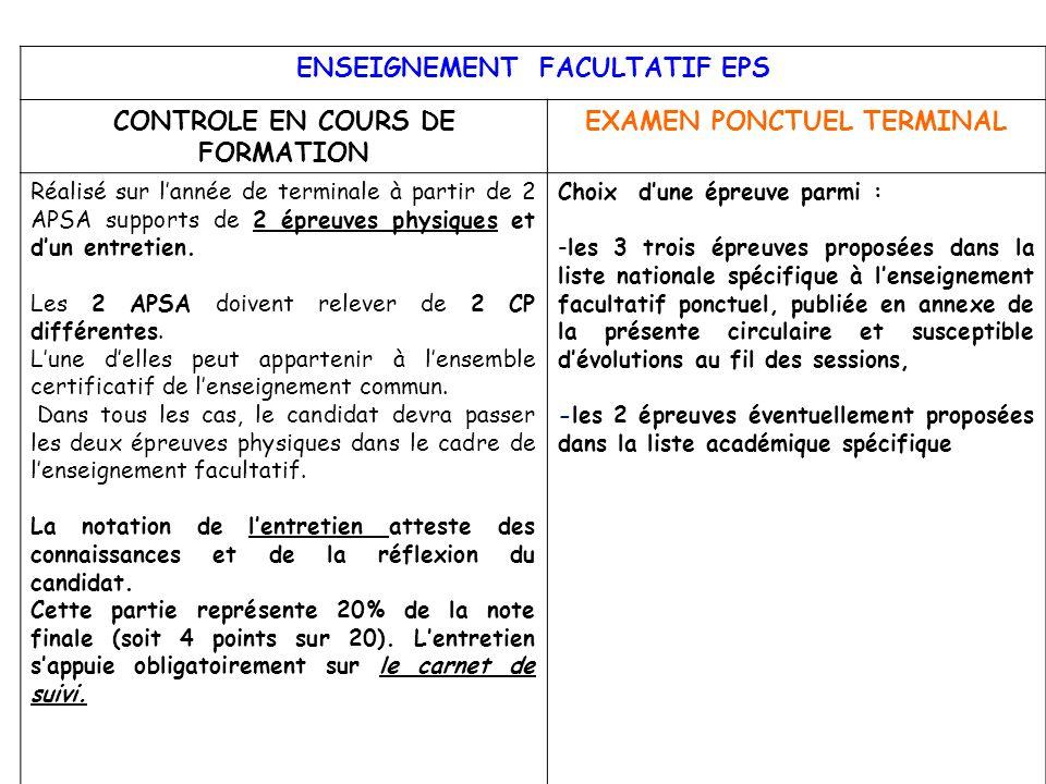 ENSEIGNEMENT FACULTATIF EPS CONTROLE EN COURS DE FORMATION EXAMEN PONCTUEL TERMINAL Réalisé sur lannée de terminale à partir de 2 APSA supports de 2 é