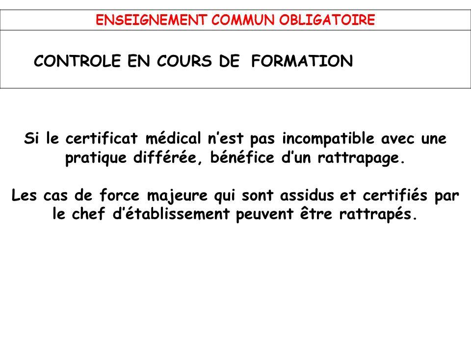 ENSEIGNEMENT COMMUN OBLIGATOIRE CONTROLE EN COURS DEFORMATION Si le certificat médical nest pas incompatible avec une pratique différée, bénéfice dun