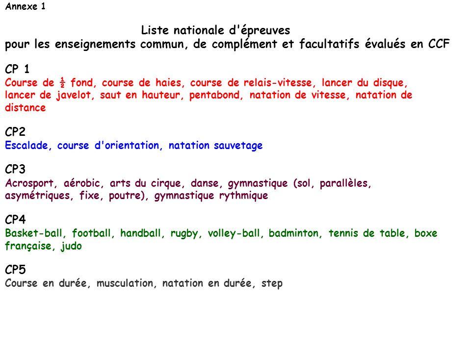 Annexe 1 Liste nationale d'épreuves pour les enseignements commun, de complément et facultatifs évalués en CCF CP 1 Course de ½ fond, course de haies,