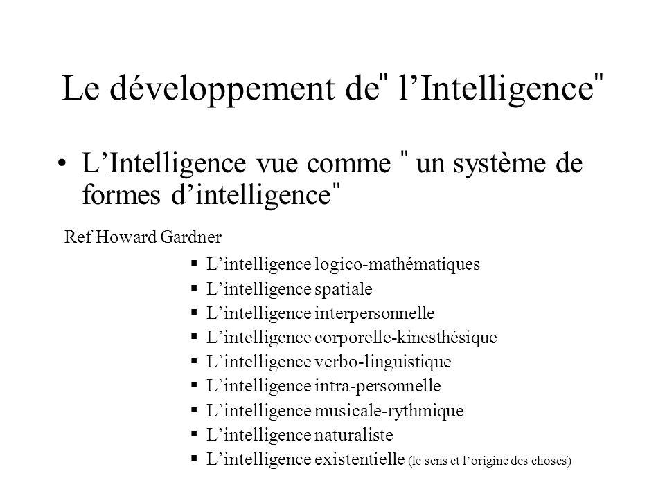 Le développement de ̎ lIntelligence ̎ LIntelligence vue comme ̎ un système de formes dintelligence ̎ Ref Howard Gardner Lintelligence logico-mathémati
