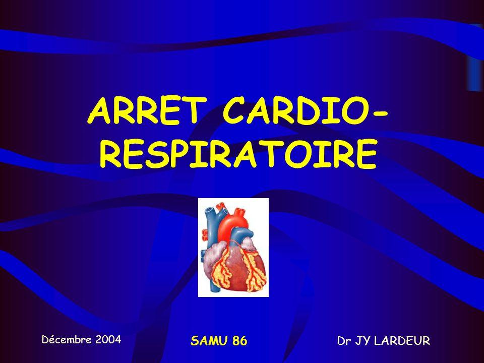 Décembre 2004 Dr JY LARDEURSAMU 86 15 / 2 sans oxygène : 700 à 1000 ml sur 2 secondes avec oxygène : 400 à 600 ml sur 2 secondes –PETITS VOLUMES B - VENTILATION ARTIFICIELLE