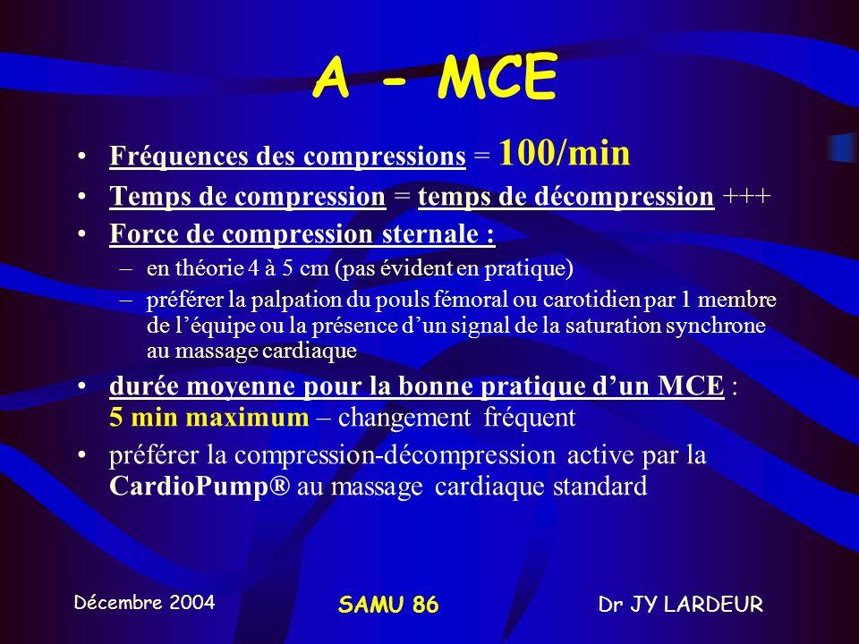 Décembre 2004 Dr JY LARDEURSAMU 86 A-MCE 2/3 1/3