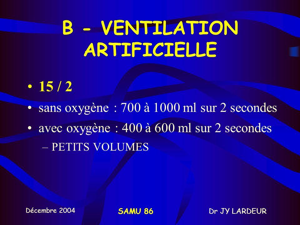 Décembre 2004 Dr JY LARDEURSAMU 86 A - MCE Fréquences des compressions = 100/min Temps de compression = temps de décompression +++ Force de compressio