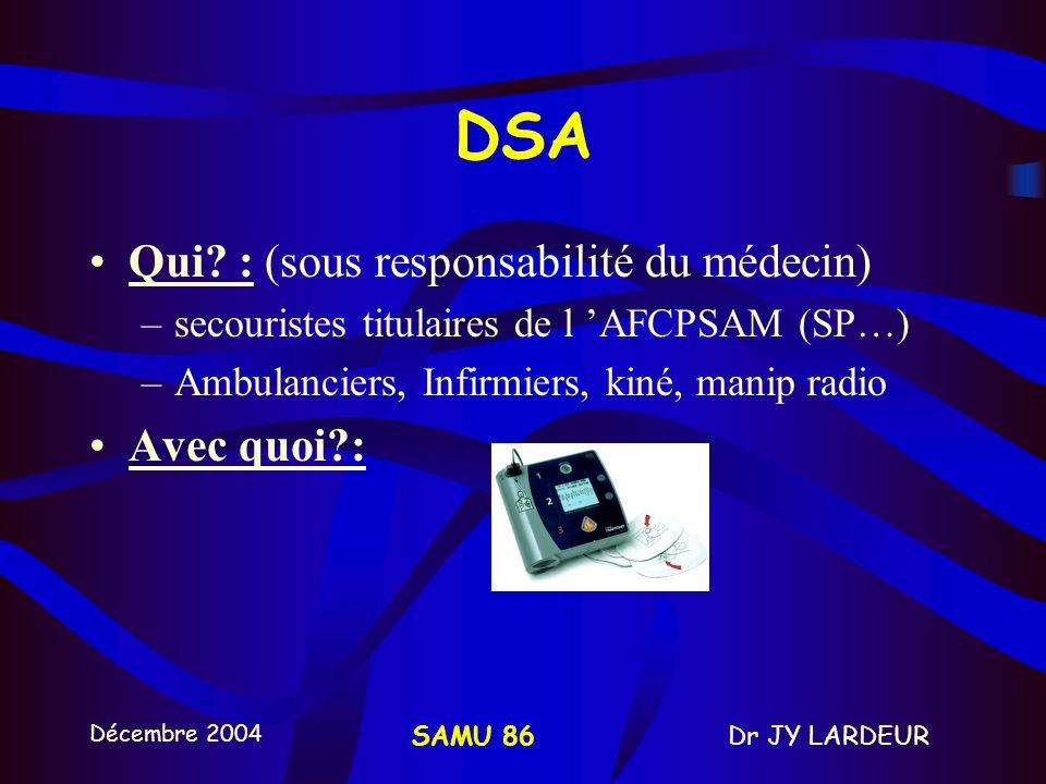 Décembre 2004 Dr JY LARDEURSAMU 86 B - Défibrillateur Semi-Automatique = DEFIBRILLATION PRECOCE Dégradation FV en asystole: entre 4 à 8 min en l absence de RCP: survie 7 à 10% / min intérêt des DSA pour les secouristes (décret 1999) Défibrillation prioritaire / RCP < 8 min (ILCOR) effondrement - arrivée secours au patient < 5 min (Ann Emerg Med 2003)