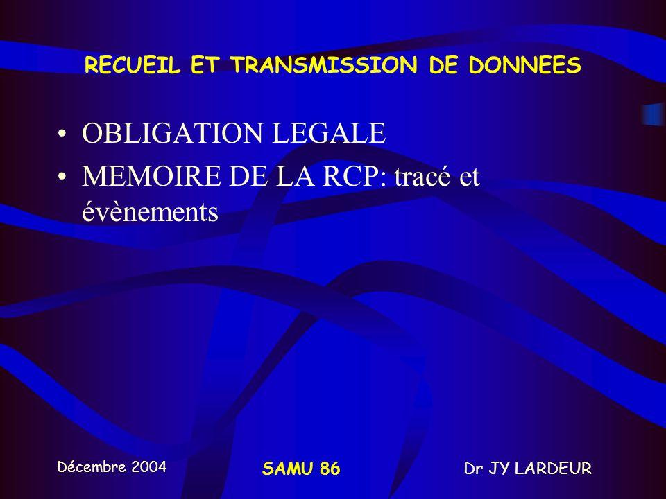 Décembre 2004 Dr JY LARDEURSAMU 86 DSA POURQUOI? Alerte - RCP précoce - défibrillation précoce - médicalisation précoce (SMUR) 30 à 40 % de survivants
