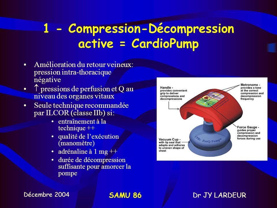 Décembre 2004 Dr JY LARDEURSAMU 86 1 – MCE Débits sanguins cérébraux et myocardiques: 10 à 30% des débits normaux OPTIMISATION DU MCE 1.ENTRAINEMENT +++ 2.COMPRESSION/DECOMPRESSION ACTIVE 3.VALVE DIMPEDANCE