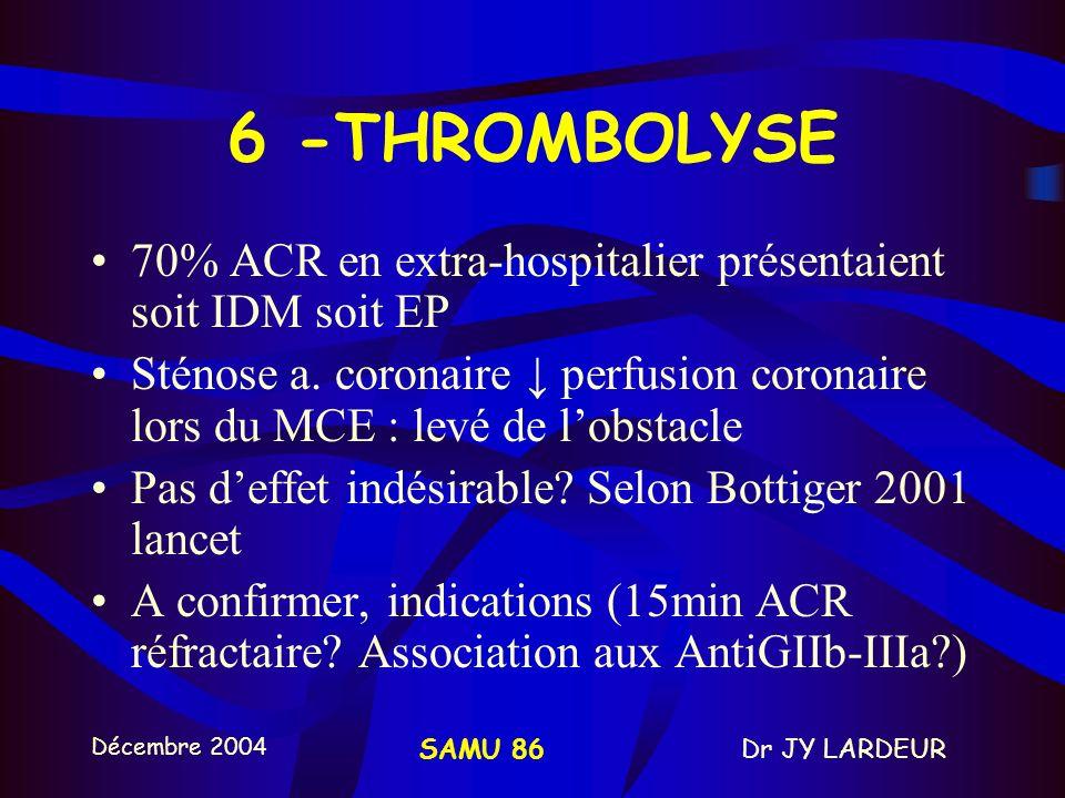 Décembre 2004 Dr JY LARDEURSAMU 86 ATROPINE: –ASYSTOLE ou DEM: 1mg / 3 à 5min BICABONATES: –PAS DINTERÊT sauf acidose préexistante, hyperK, intox AT ou barbituriques –Sinon dernier recours –1 mmol/Kg