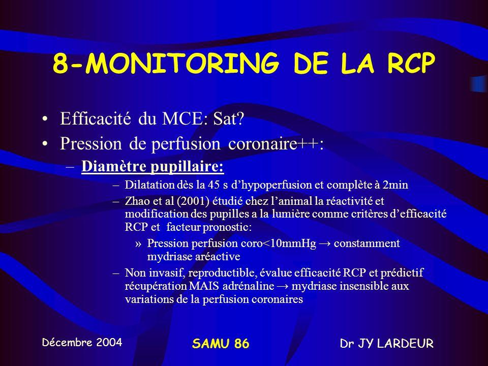 Décembre 2004 Dr JY LARDEURSAMU 86 ACR RCP de base DSA ou SCOPE DEFIBRILLATEUR rythme? pouls? 3 CEE RCP 1 min Pendant la RCP : Vérifier la position et