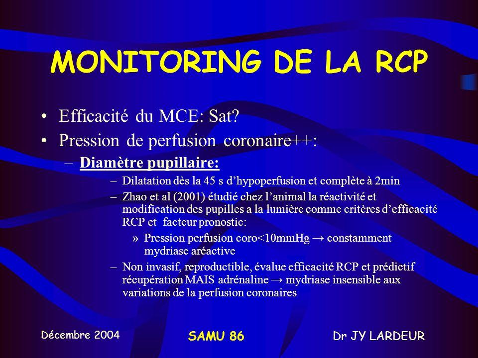 Décembre 2004 Dr JY LARDEURSAMU 86 8-MONITORING DE LA RCP Monitorage hémodynamique invasif:KTa –Mesurer pressions artérielles systoliques et diastolique+++ –Pression artérielle diastolique de 30 à 40 mmHg = Pression perfusion coro 15mmHg ETCO2: –Intérêt thérapeutique et pronostique –ETCO2 reflète le métabolisme et circulation systémique.