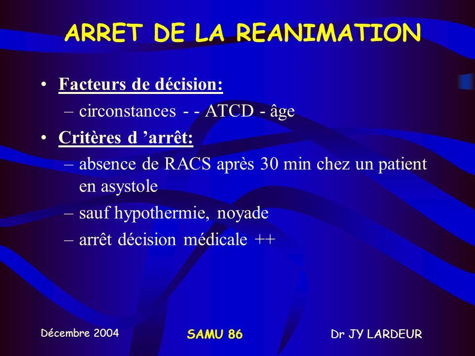 Décembre 2004 Dr JY LARDEURSAMU 86 ETCO2 et ACR Intérêt +++ - simple - non invasif - facile à obtenir Intérêt thérapeutique –monitoring de l efficacit