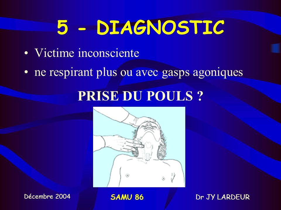 Décembre 2004 Dr JY LARDEURSAMU 86 5 - DIAGNOSTIC Victime inconsciente ne respirant plus ou avec gasps agoniques PRISE DU POULS ?