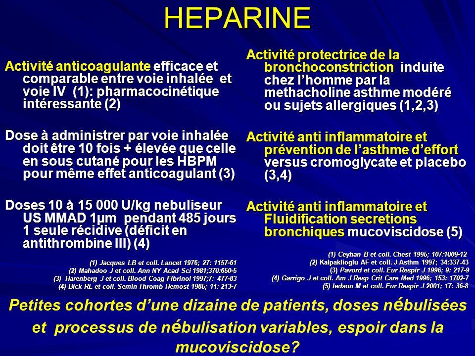 HEPARINE Activité anticoagulante efficace et comparable entre voie inhalée et voie IV (1): pharmacocinétique intéressante (2) Dose à administrer par v