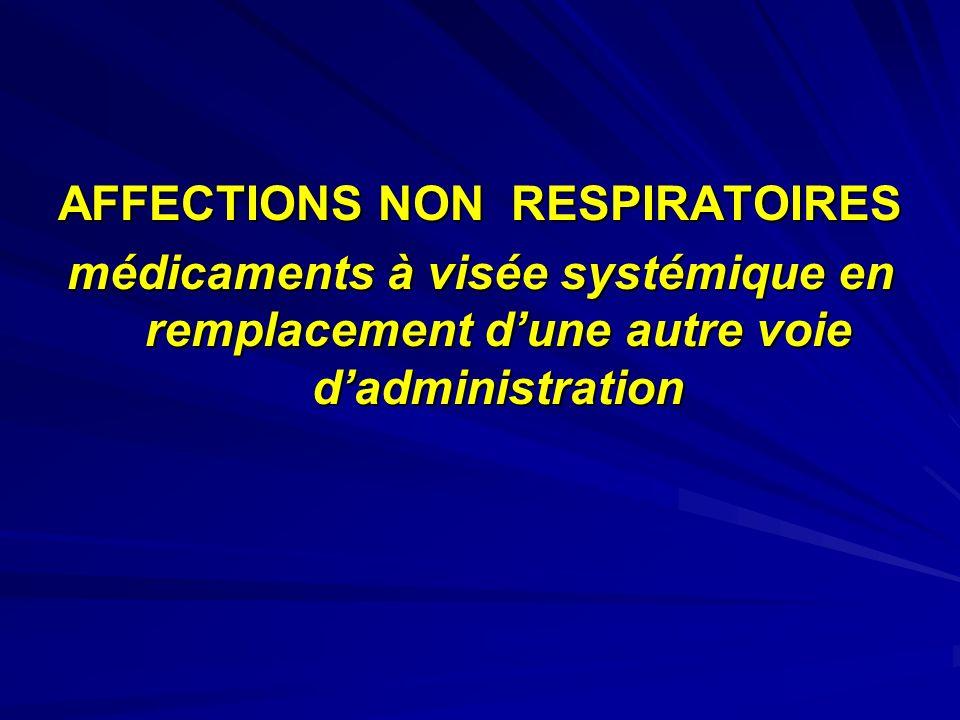 AFFECTIONS NON RESPIRATOIRES médicaments à visée systémique en remplacement dune autre voie dadministration