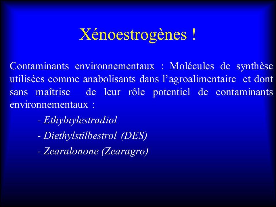 Xénoestrogènes ! Contaminants environnementaux : Molécules de synthèse utilisées comme anabolisants dans lagroalimentaire et dont sans maîtrise de leu