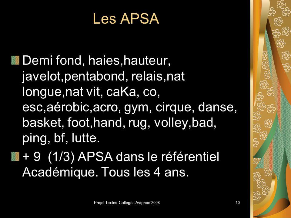 Projet Textes Collèges Avignon 20089 Organisation et mise en Place: une liste nationale dAPSA est arrêtée (27).