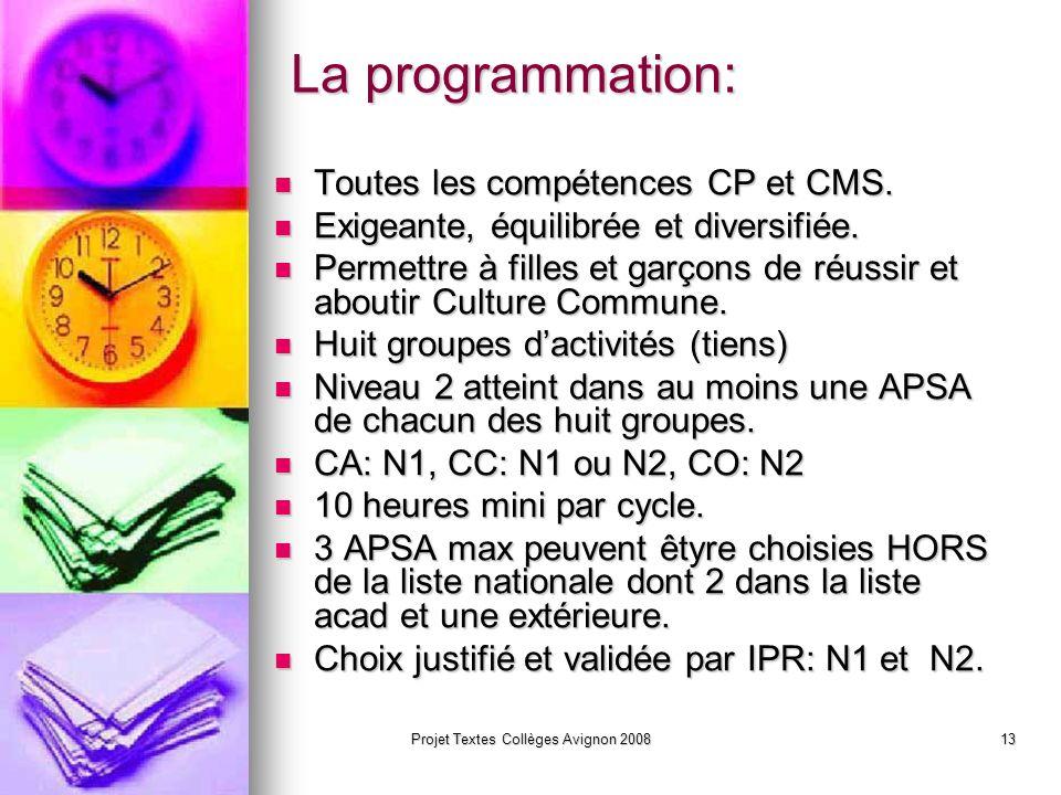 Projet Textes Collèges Avignon 200812 Le Projet EPS Responsabilité de lensemble de léquipe éducative.