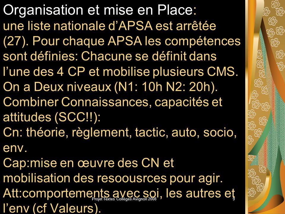 Projet Textes Collèges Avignon 20088 Compétences méthodologiques et sociales.