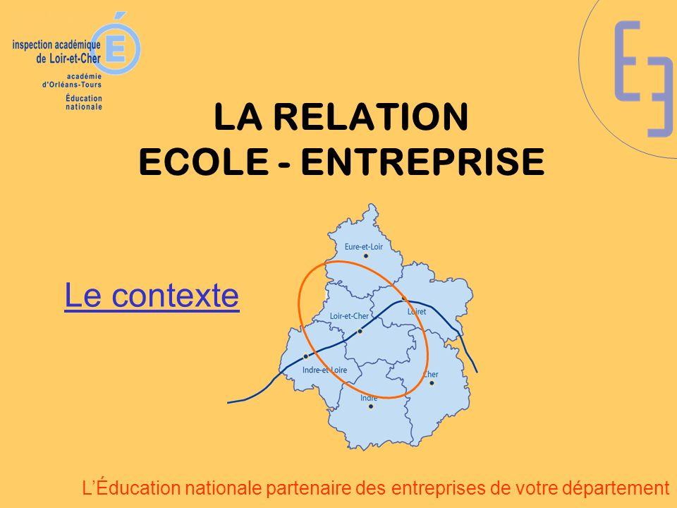 LÉducation nationale partenaire des entreprises de votre département LA RELATION ECOLE - ENTREPRISE Un ensemble de dispositifs : pilotés par lInspection académique soutenus par le Conseil Général organisés avec le MEDEF, la CGPME et les branches professionnelles