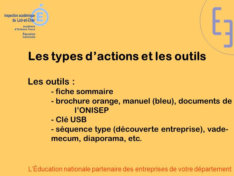LÉducation nationale partenaire des entreprises de votre département Les outils : - fiche sommaire - brochure orange, manuel (bleu), documents de lONI
