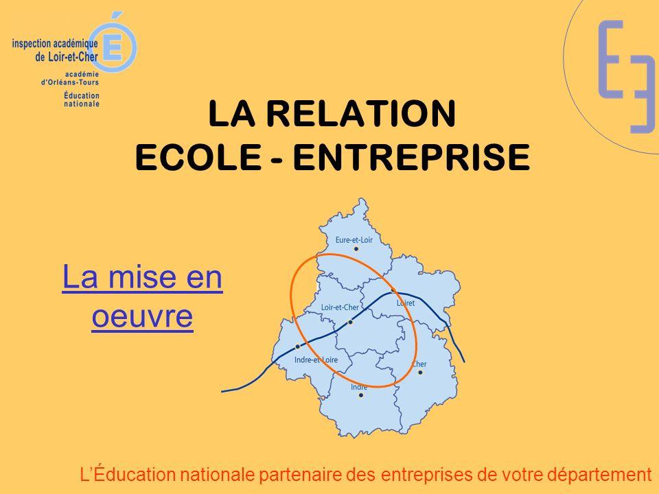 LÉducation nationale partenaire des entreprises de votre département LA RELATION ECOLE - ENTREPRISE La mise en oeuvre