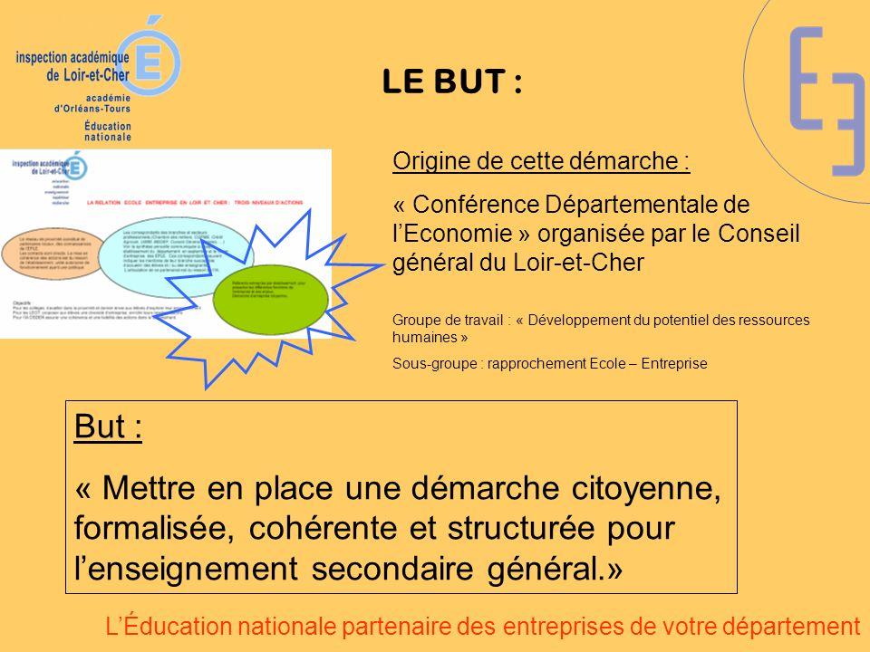 LÉducation nationale partenaire des entreprises de votre département LE BUT : Origine de cette démarche : « Conférence Départementale de lEconomie » o