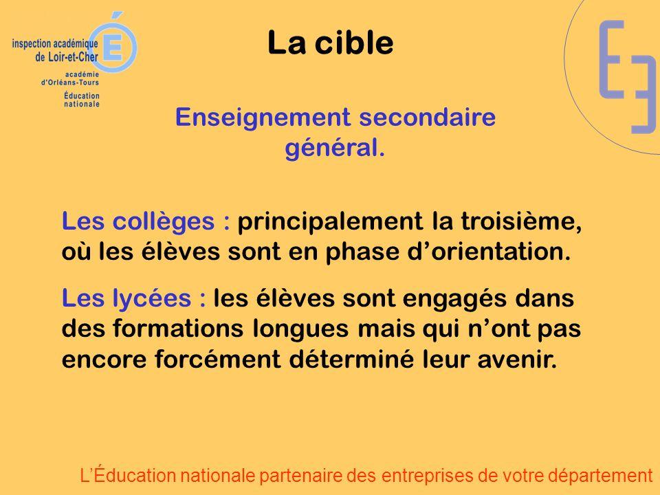 LÉducation nationale partenaire des entreprises de votre département Les collèges : principalement la troisième, où les élèves sont en phase dorientation.