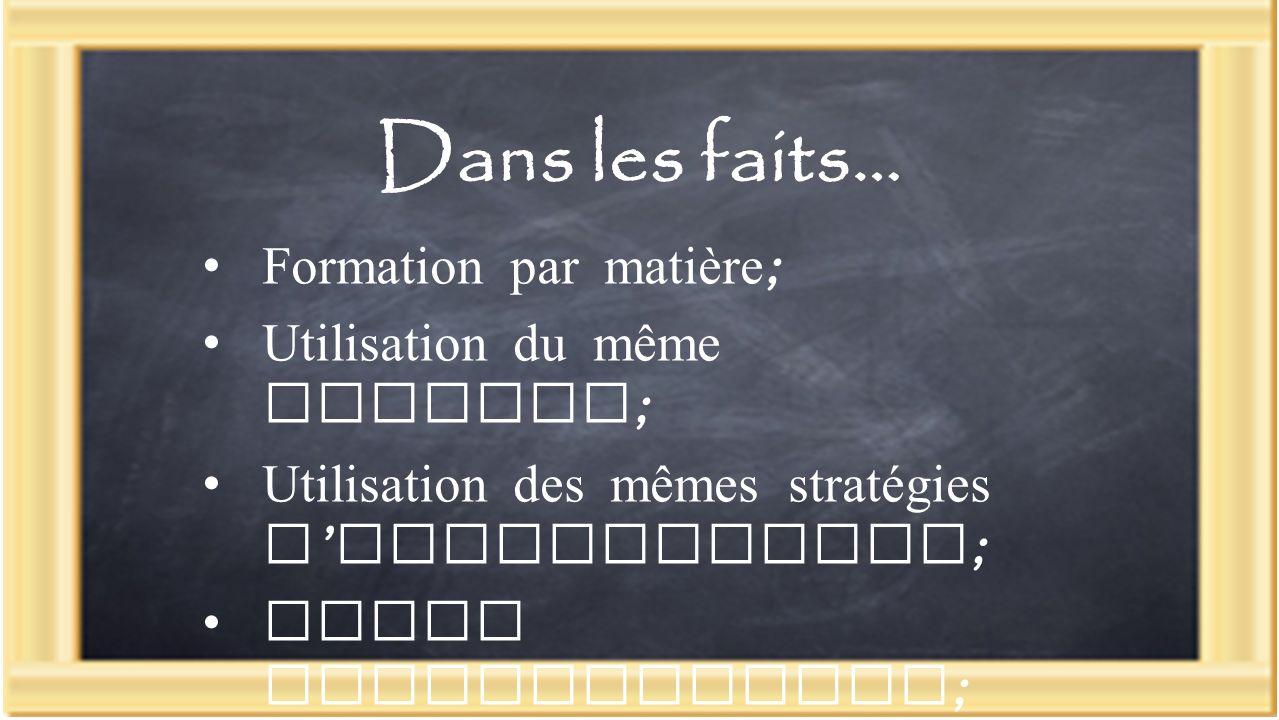 Dans les faits… Formation par matière ; Utilisation du même langage ; Utilisation des mêmes stratégies d enseignement ; Bonne communication ; Rencontres informelles.