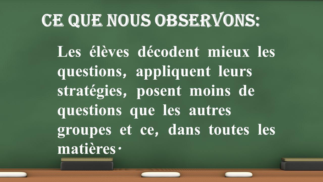 Les élèves décodent mieux les questions, appliquent leurs stratégies, posent moins de questions que les autres groupes et ce, dans toutes les matières.