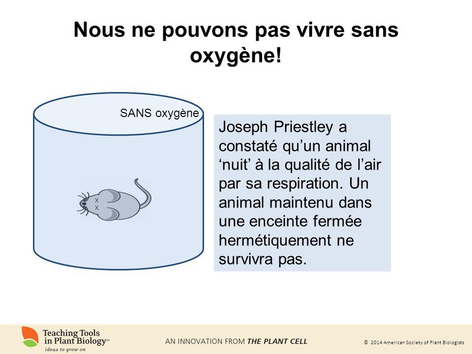 © 2014 American Society of Plant Biologists Oxygène produit Priestley a aussi constaté que les plantes ont la capacité de restaurer la qualité de lair.