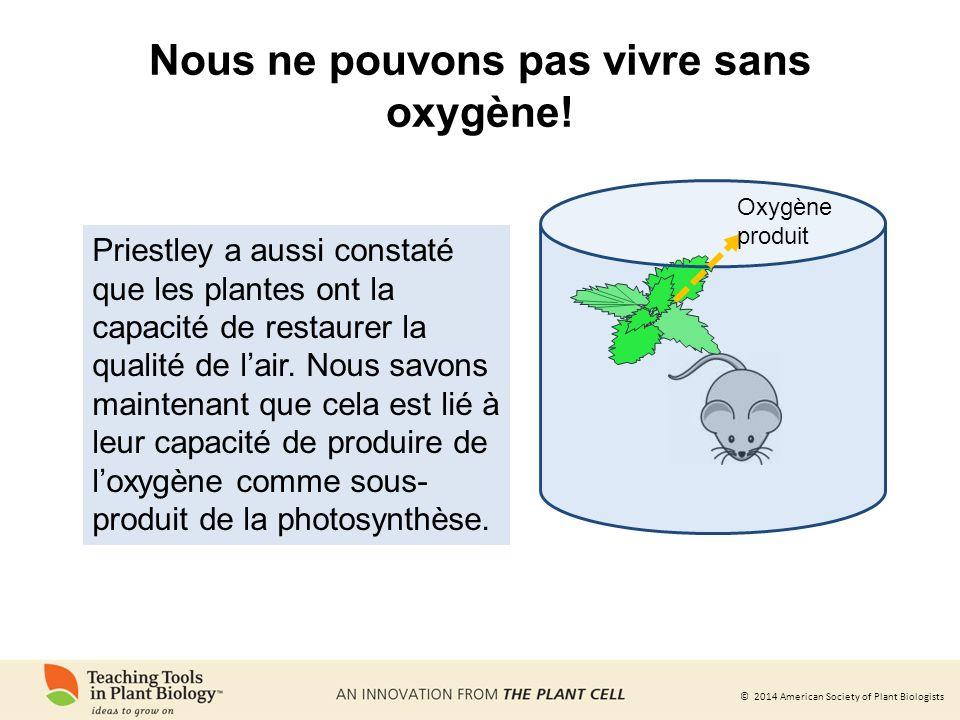 © 2014 American Society of Plant Biologists Les plantes assimilent le gaz carbonique pour synthétiser des molécules riches en énergie que les animaux utilisent comme nutriments CO 2 Les plantes convertissent le CO 2 atmosphérique en sucres grâce à la photosynthèse.