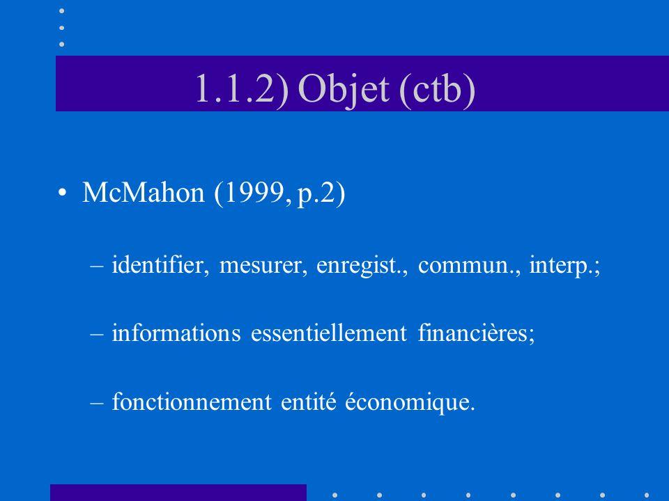 1.1.2) Objet (ctb) McMahon (1999, p.2) –identifier, mesurer, enregist., commun., interp.; –informations essentiellement financières; –fonctionnement e
