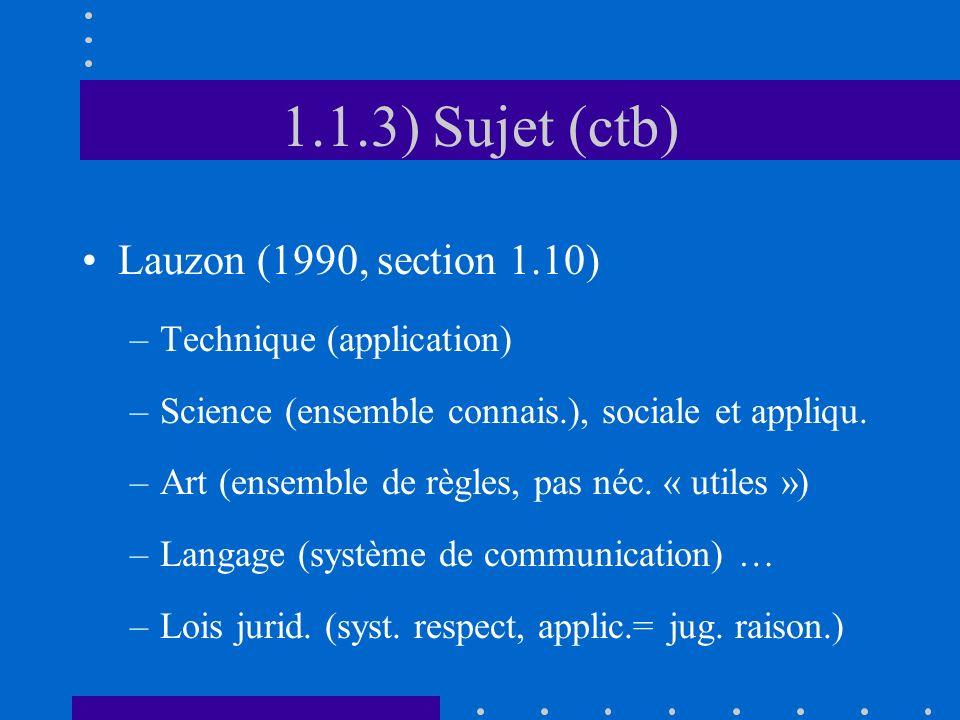 1.1.3) Sujet (ctb) Lauzon (1990, section 1.10) –Technique (application) –Science (ensemble connais.), sociale et appliqu. –Art (ensemble de règles, pa