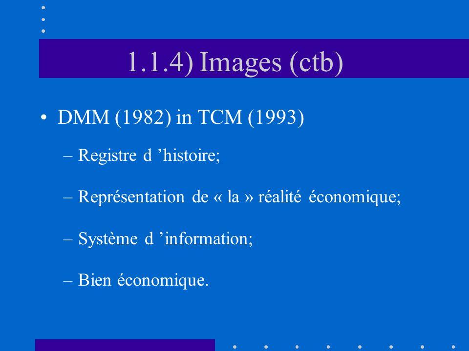 1.1.4) Images (ctb) DMM (1982) in TCM (1993) –Registre d histoire; –Représentation de « la » réalité économique; –Système d information; –Bien économi