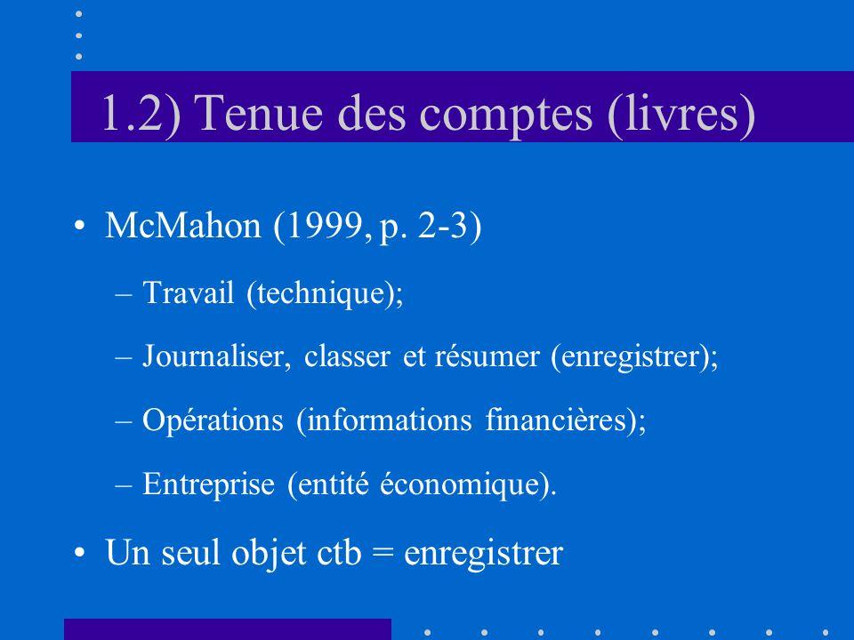 1.2) Tenue des comptes (livres) McMahon (1999, p. 2-3) –Travail (technique); –Journaliser, classer et résumer (enregistrer); –Opérations (informations