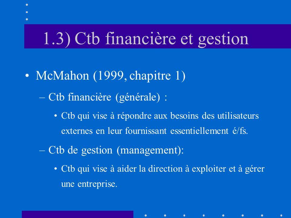 1.3) Ctb financière et gestion McMahon (1999, chapitre 1) –Ctb financière (générale) : Ctb qui vise à répondre aux besoins des utilisateurs externes e