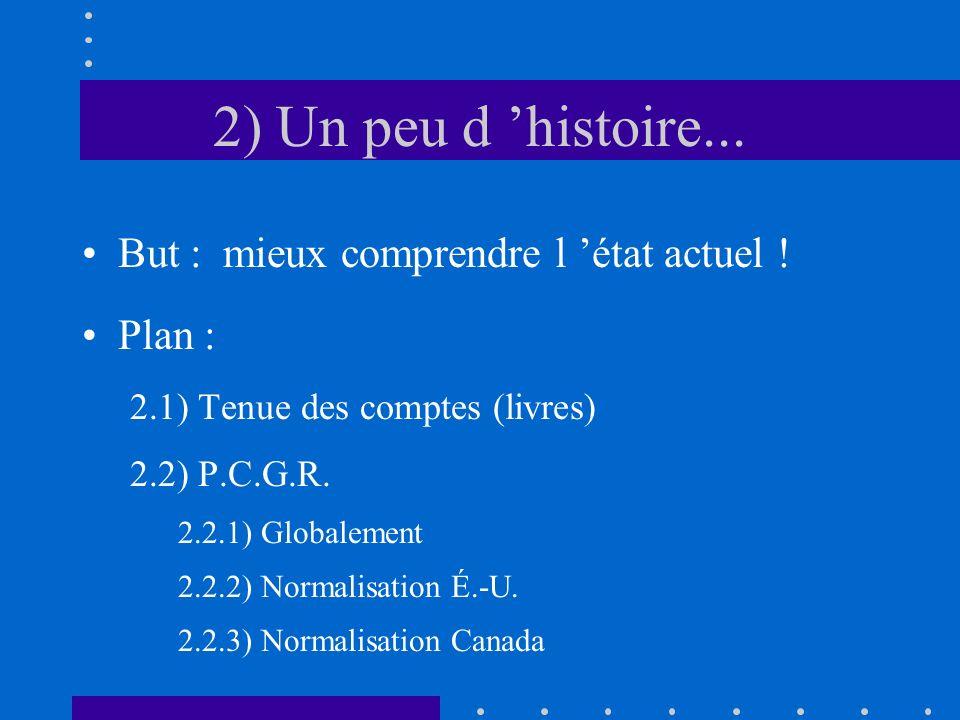2) Un peu d histoire... But : mieux comprendre l état actuel ! Plan : 2.1) Tenue des comptes (livres) 2.2) P.C.G.R. 2.2.1) Globalement 2.2.2) Normalis