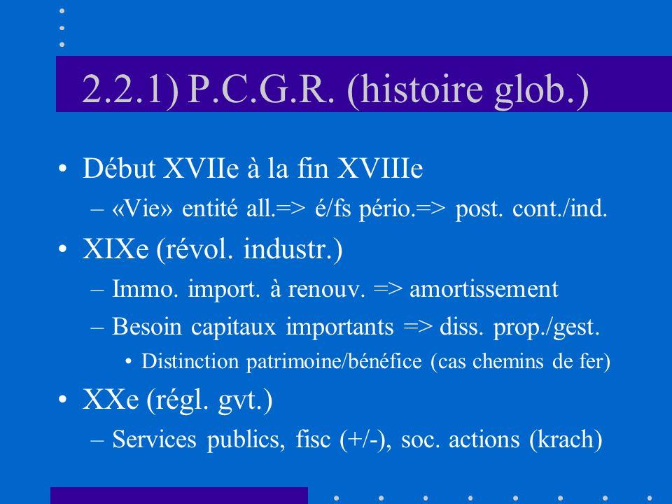 2.2.1) P.C.G.R. (histoire glob.) Début XVIIe à la fin XVIIIe –«Vie» entité all.=> é/fs pério.=> post. cont./ind. XIXe (révol. industr.) –Immo. import.