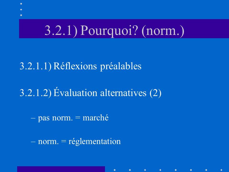 3.2.1) Pourquoi? (norm.) 3.2.1.1) Réflexions préalables 3.2.1.2) Évaluation alternatives (2) –pas norm. = marché –norm. = réglementation