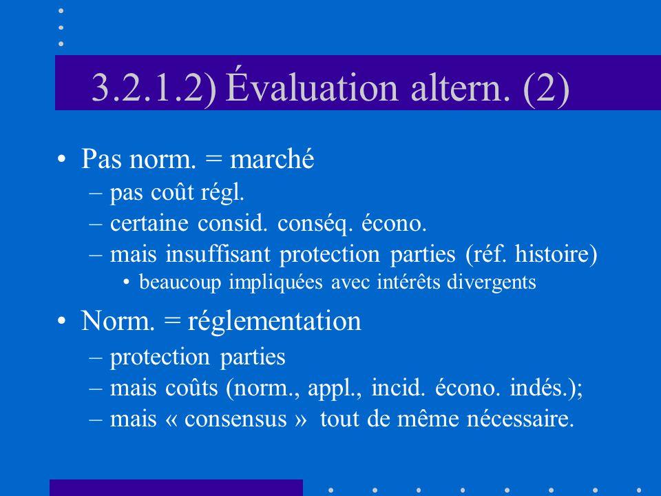 3.2.1.2) Évaluation altern. (2) Pas norm. = marché –pas coût régl. –certaine consid. conséq. écono. –mais insuffisant protection parties (réf. histoir