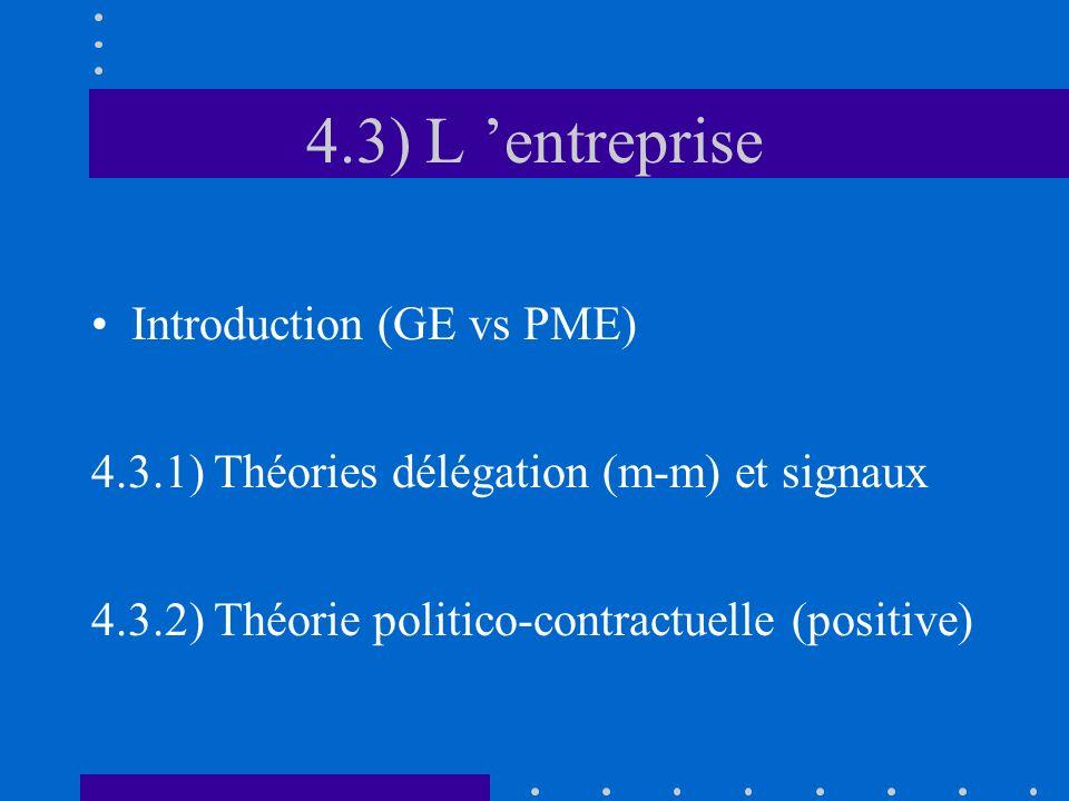 4.3) L entreprise Introduction (GE vs PME) 4.3.1) Théories délégation (m-m) et signaux 4.3.2) Théorie politico-contractuelle (positive)
