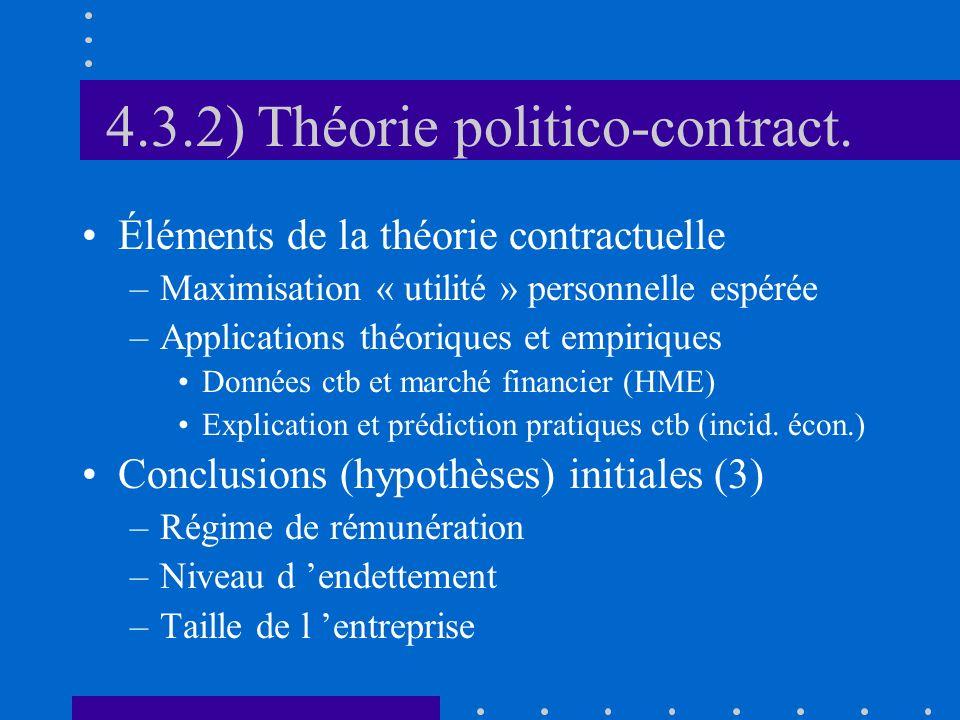 4.3.2) Théorie politico-contract. Éléments de la théorie contractuelle –Maximisation « utilité » personnelle espérée –Applications théoriques et empir