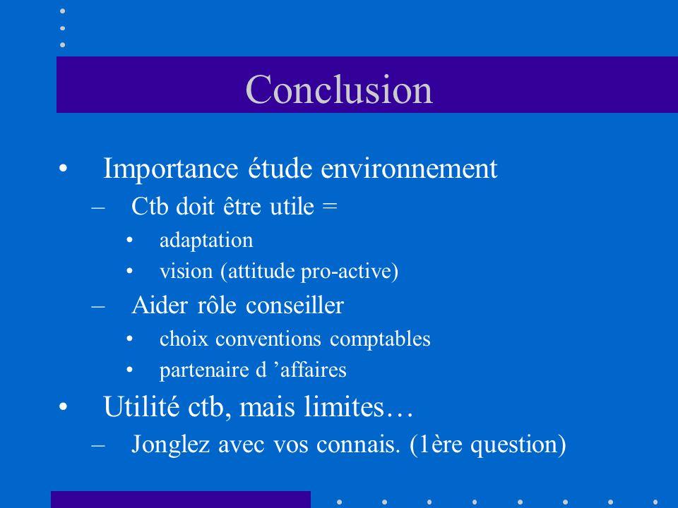 Conclusion Importance étude environnement –Ctb doit être utile = adaptation vision (attitude pro-active) –Aider rôle conseiller choix conventions comp