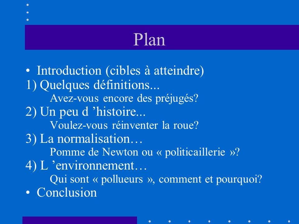Plan Introduction (cibles à atteindre) 1) Quelques définitions... Avez-vous encore des préjugés? 2) Un peu d histoire... Voulez-vous réinventer la rou