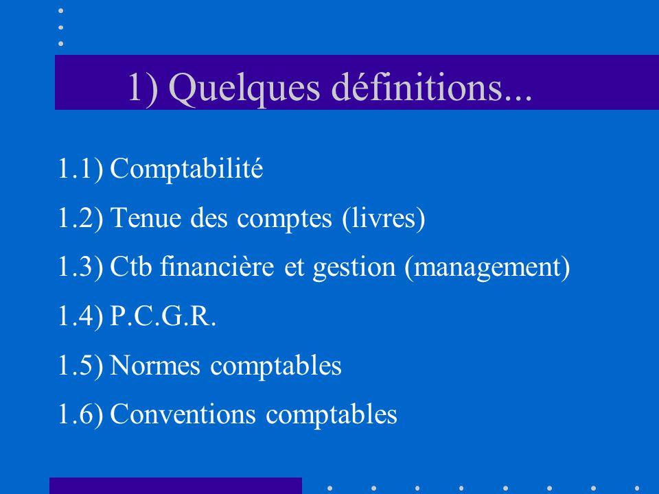 1) Quelques définitions... 1.1) Comptabilité 1.2) Tenue des comptes (livres) 1.3) Ctb financière et gestion (management) 1.4) P.C.G.R. 1.5) Normes com