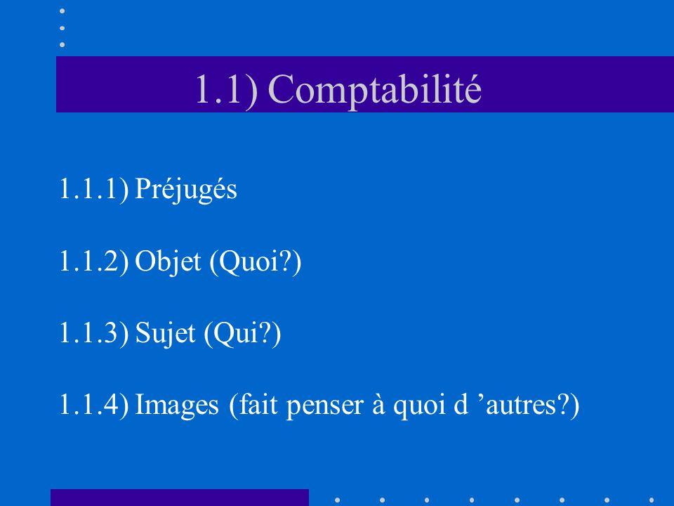 1.1) Comptabilité 1.1.1) Préjugés 1.1.2) Objet (Quoi?) 1.1.3) Sujet (Qui?) 1.1.4) Images (fait penser à quoi d autres?)