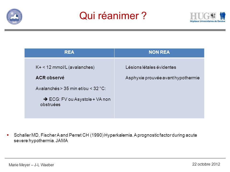 Qui réanimer ? 22 octobre 2012 REANON REA K+ < 12 mmol/L (avalanches) ACR observé Avalanchés > 35 min et/ou < 32 °C: ECG: FV ou Asystole + VA non obst