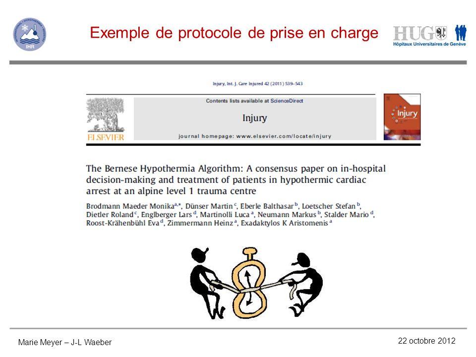 Exemple de protocole de prise en charge Marie Meyer – J-L Waeber 22 octobre 2012