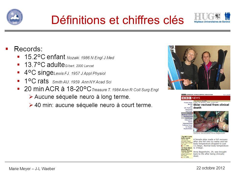 Définitions et chiffres clés 22 octobre 2012 Records: 15.2°C enfant Nozaki. 1986 N Engl J Med 13.7°C adulte Gilbert. 2000 Lancet 4°C singe Lewis FJ. 1